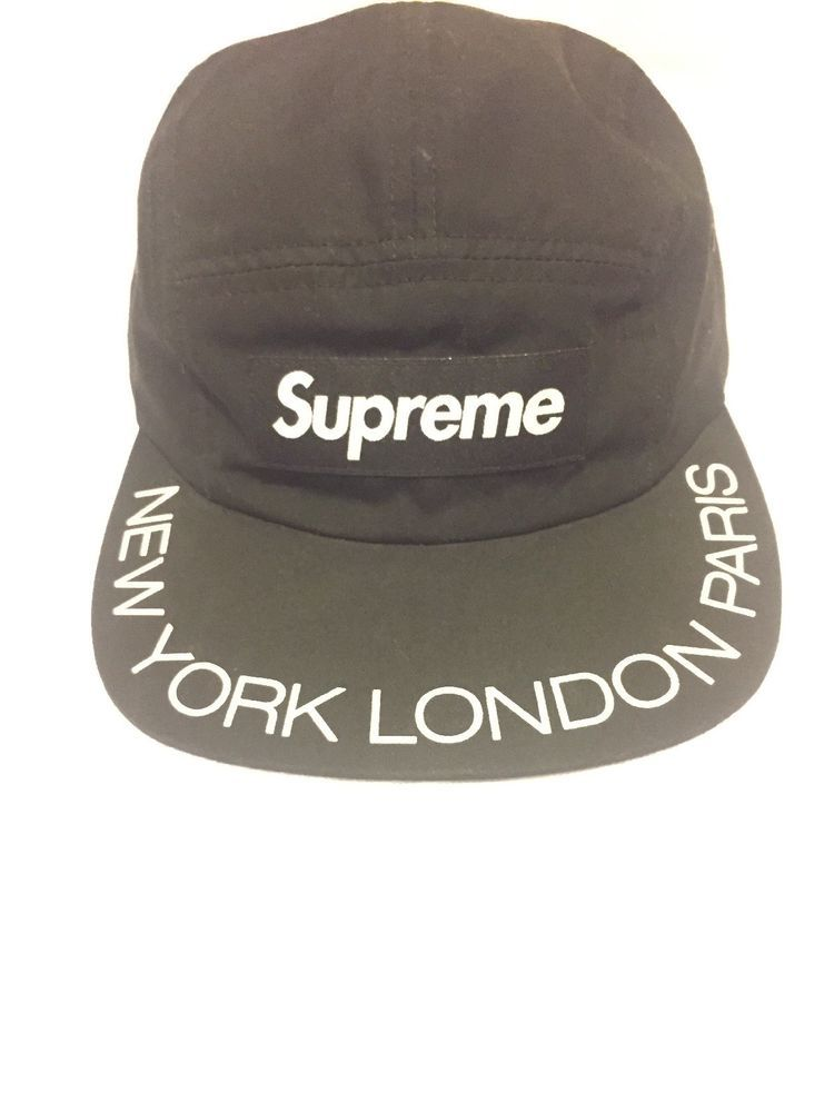 6ef1d9e993d Supreme Visor Print Logo Camp Cap SS18 New York London Paris Black Visor  Print  fashion