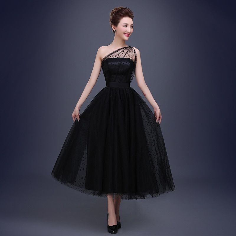 Ball Gown Tulle Dots One shoulder Tea length Prom Dresses Black Plus Size Sexy Party Gowns robe de soiree-in Prom Dresses from Weddings & Events on Aliexpress.com   Alibaba Group