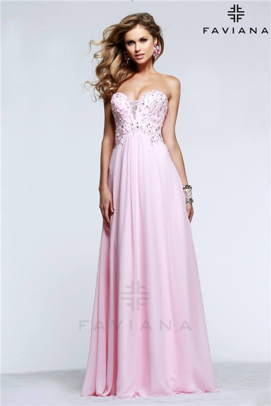 Ice Pink Beaded Faviana S7522 Strapless Long Prom Dress 2015 ...