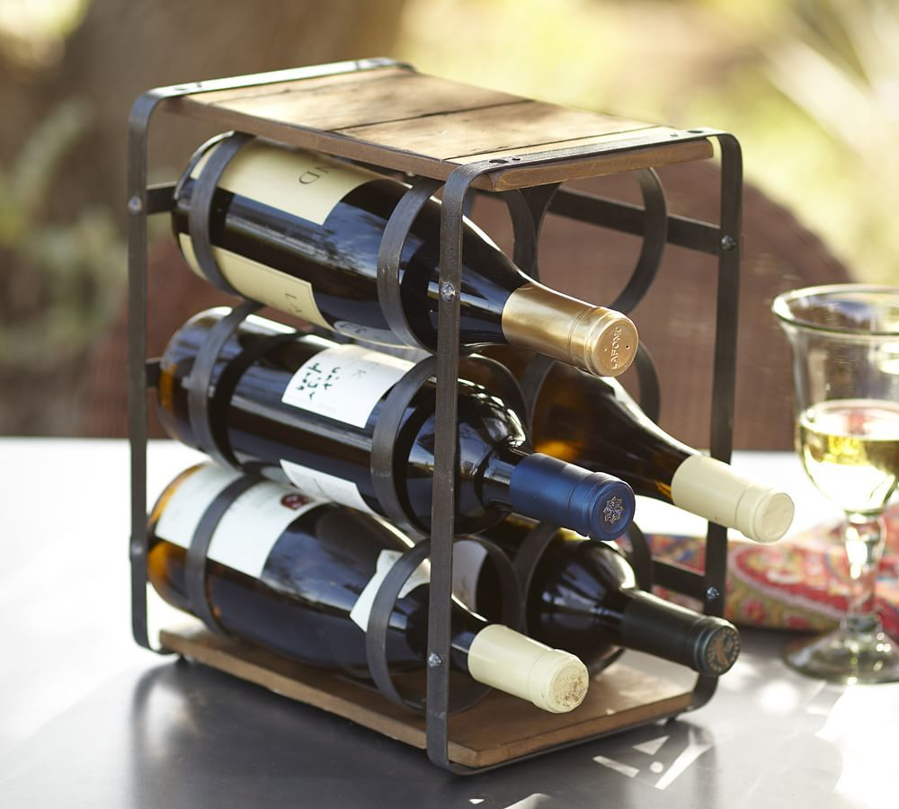Estante estilo industrial para botellas de vino hogar for Estantes para vinos