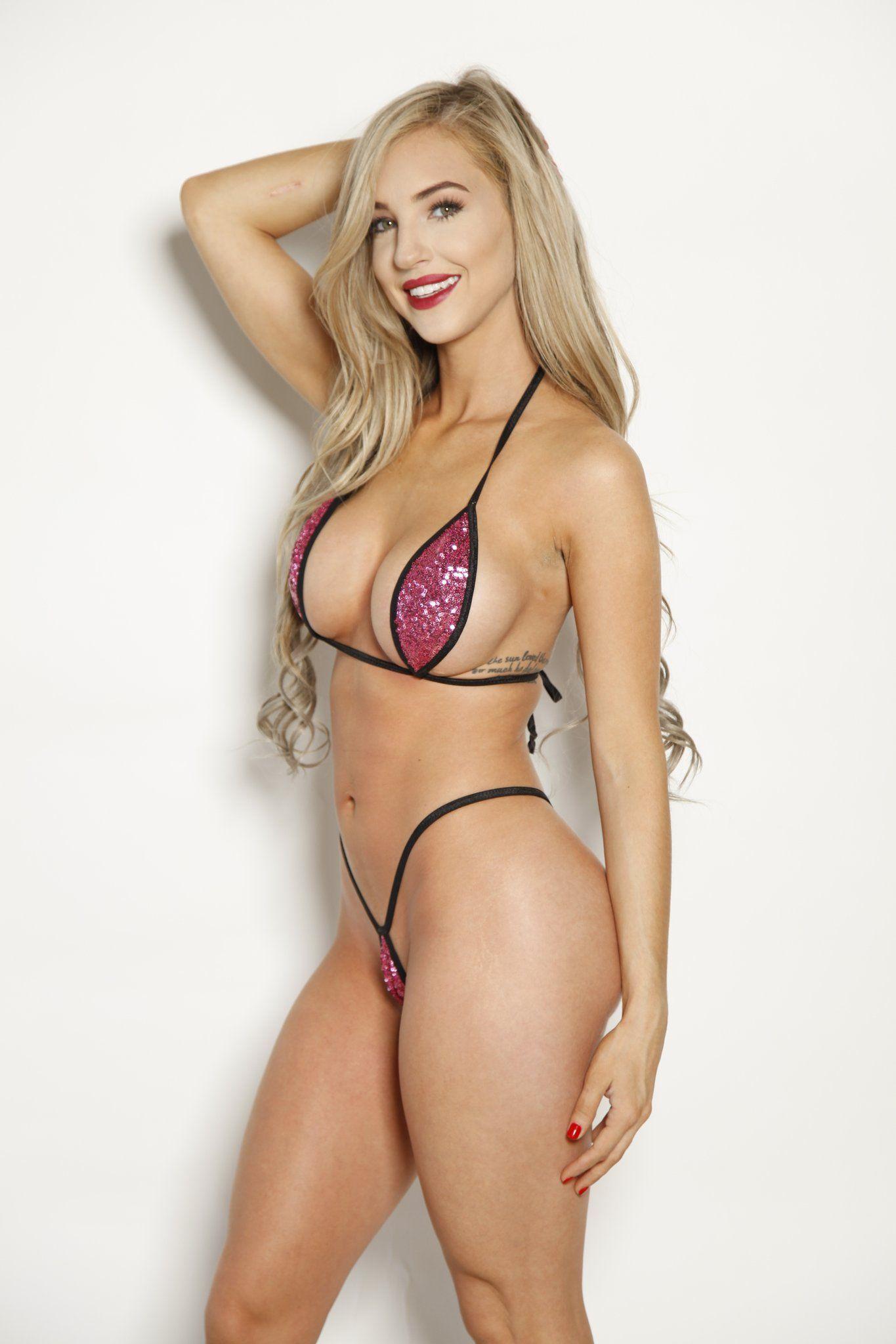 8fbd88846f52d Bitsy s Bikinis Pink Sequin Black String Extreme Micro Teardrop Bikini Shop  Sparkly Swimwear Online!