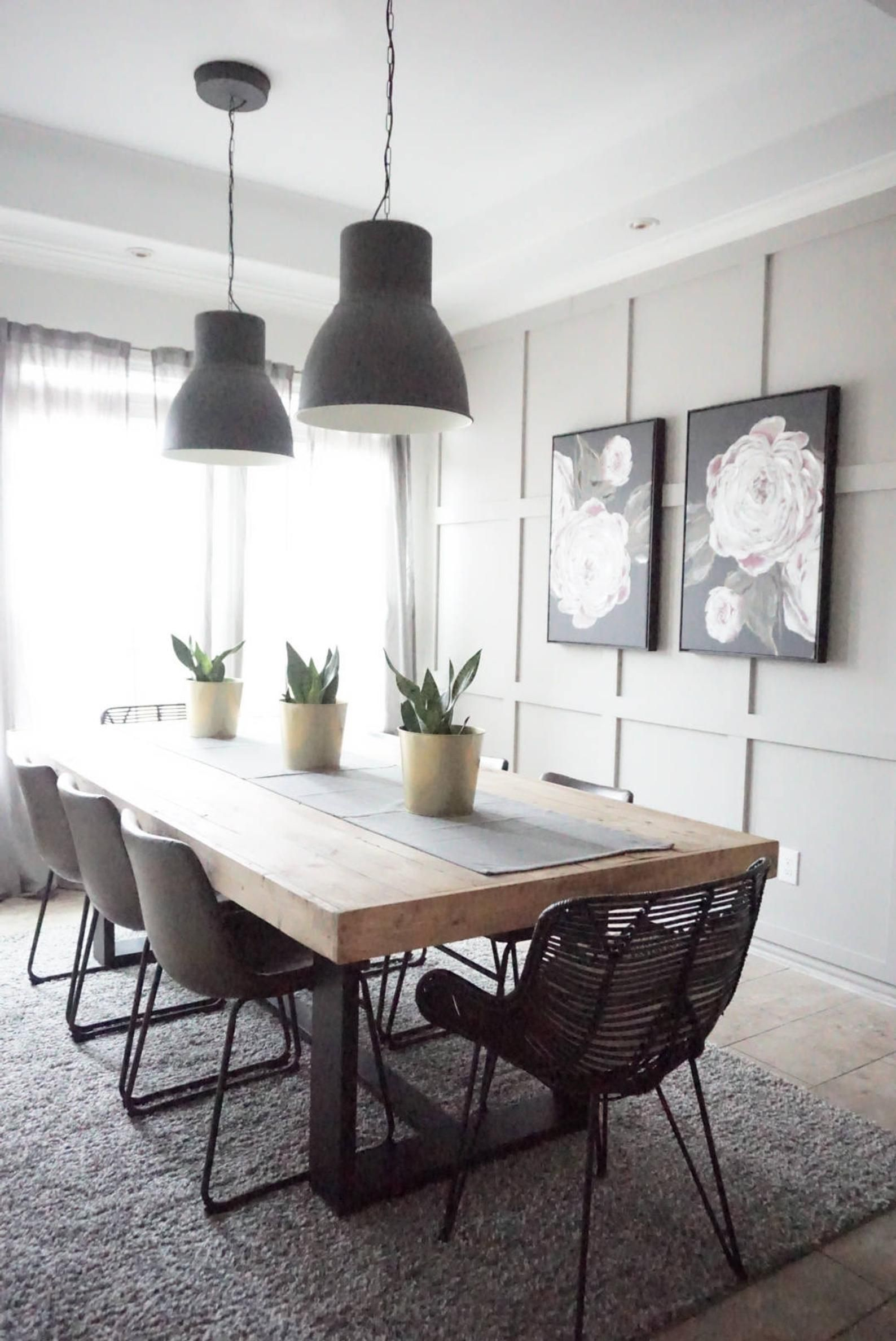 Modern Farmhouse Dining Table With Black Base And Natural Top
