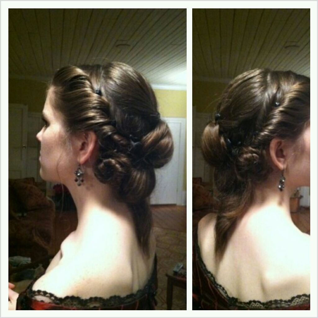 double waterfall- 1860's ball hair style. hair style by