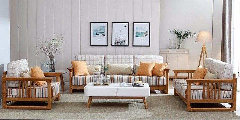Sleek Wooden Sofa Set With Fixed Cushion Handmade Teak