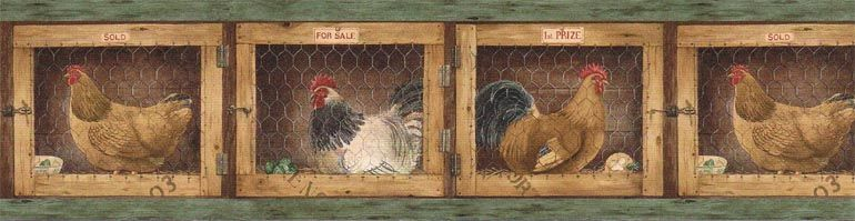 Kitchen Country Hen Rooster Wallpaper Border Afr7136