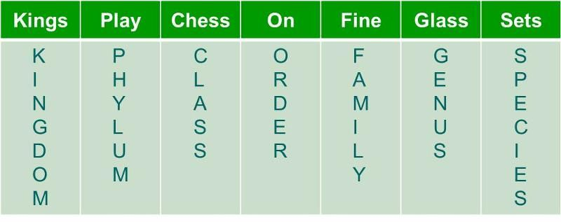 This Is A Mnemonic Device For Remembering How To Classify Life
