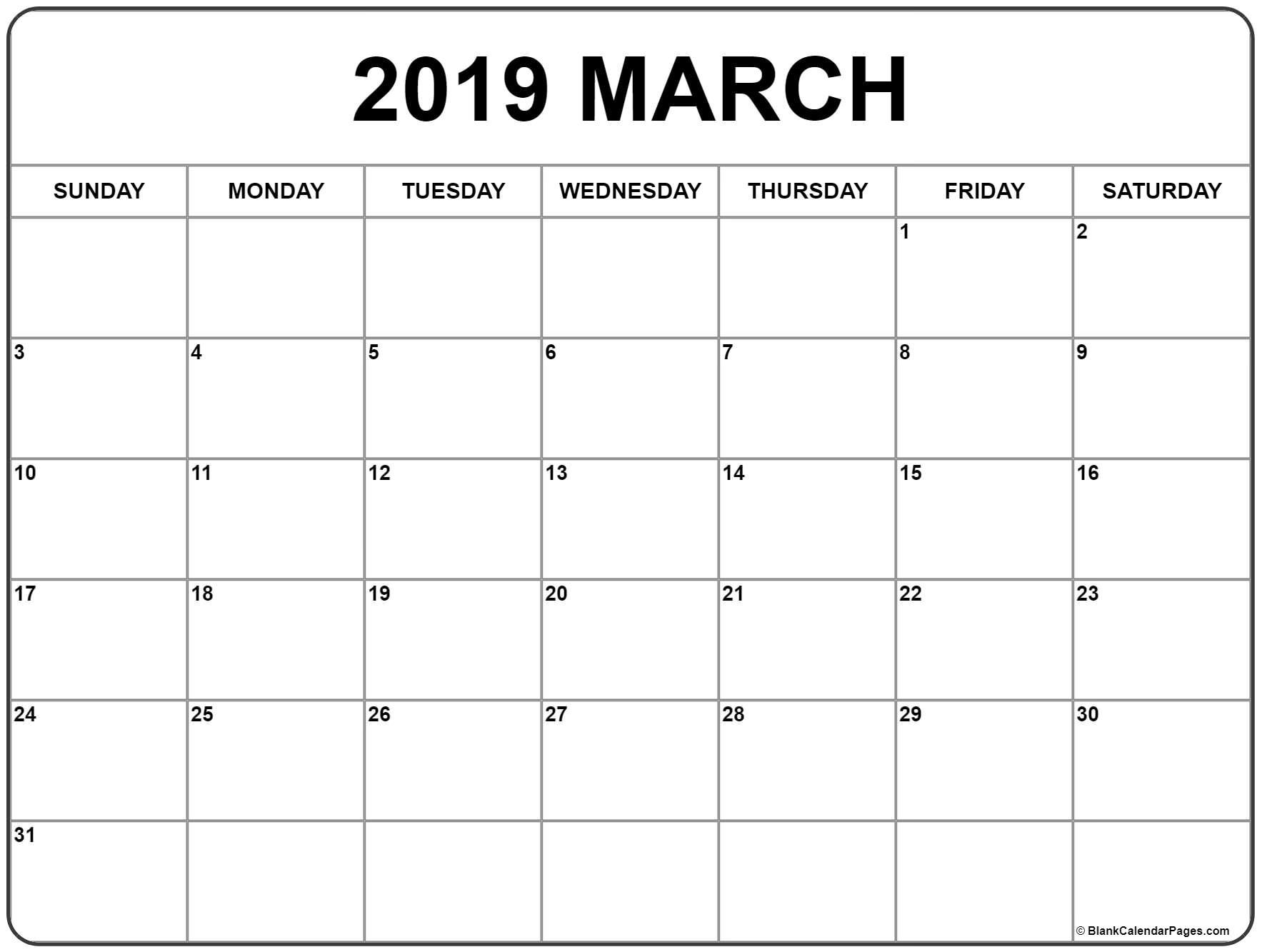 March 2019 Calendar 56 Templates Of 2019 Printable Calendars