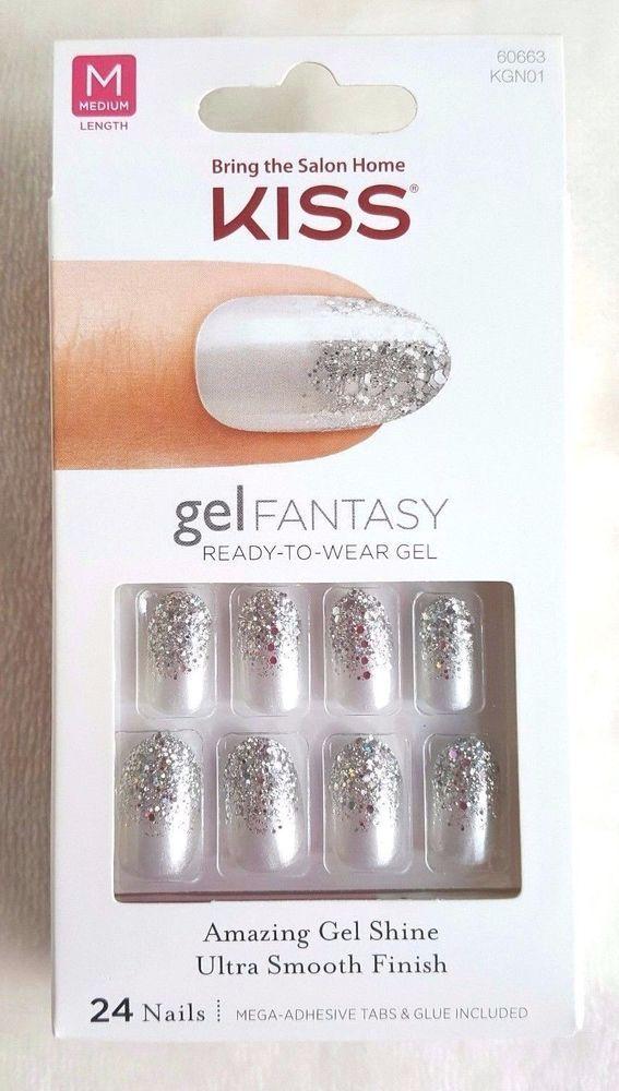 KISS Gel Fantasy Nails Silver+Shiny Silver Confetti/Glitter FANCIFUL ...