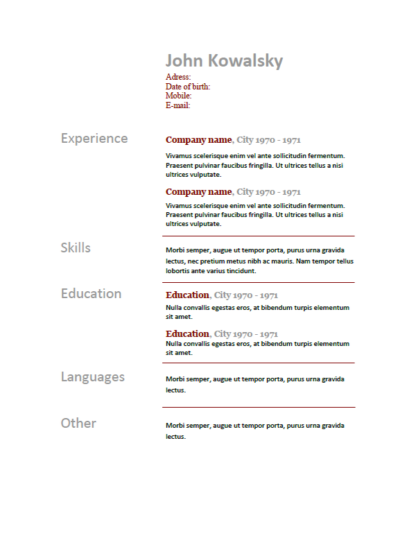 language proficiency levels template