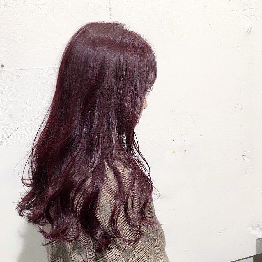 Yuma 韓国ヘア韓国マッシュ韓国カラー On Instagram ブリーチなし ダークチェリーパープル ごえもんカラー カラーは ブリーチなしで ダークカラーで