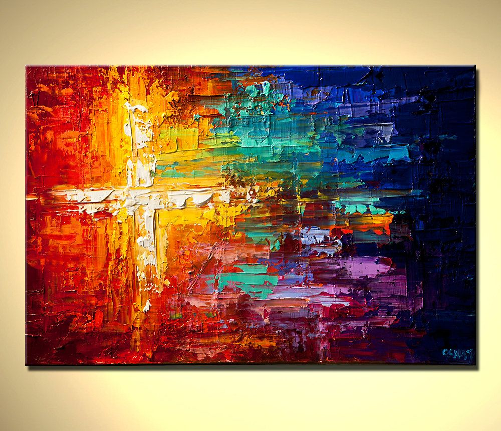 original abstract painting colorful art textured impasto
