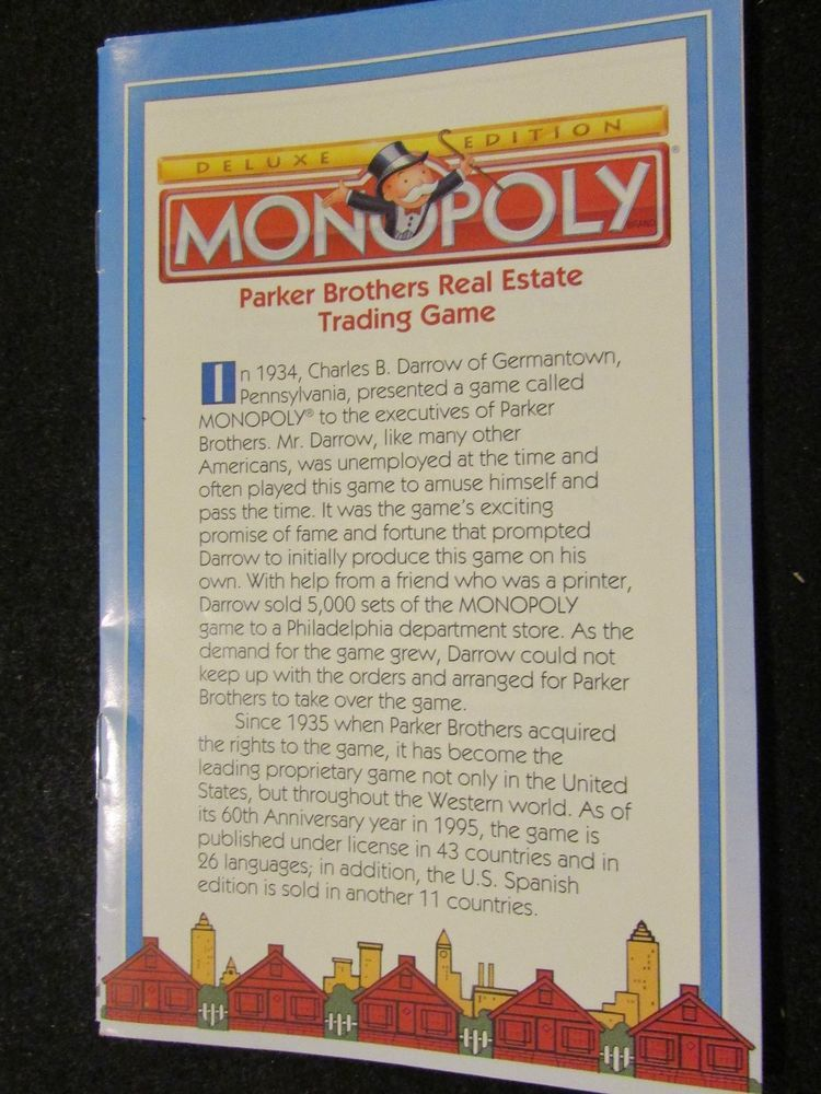 1998 Monopoly Deluxe Edition Instructions Board Game Parts