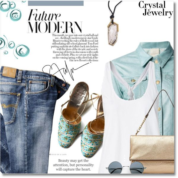 Crystal Jewelry by bynoor on Polyvore featuring moda, Unfleur, Nudie Jeans Co., Christian Dior, FOSSIL and Etiquette