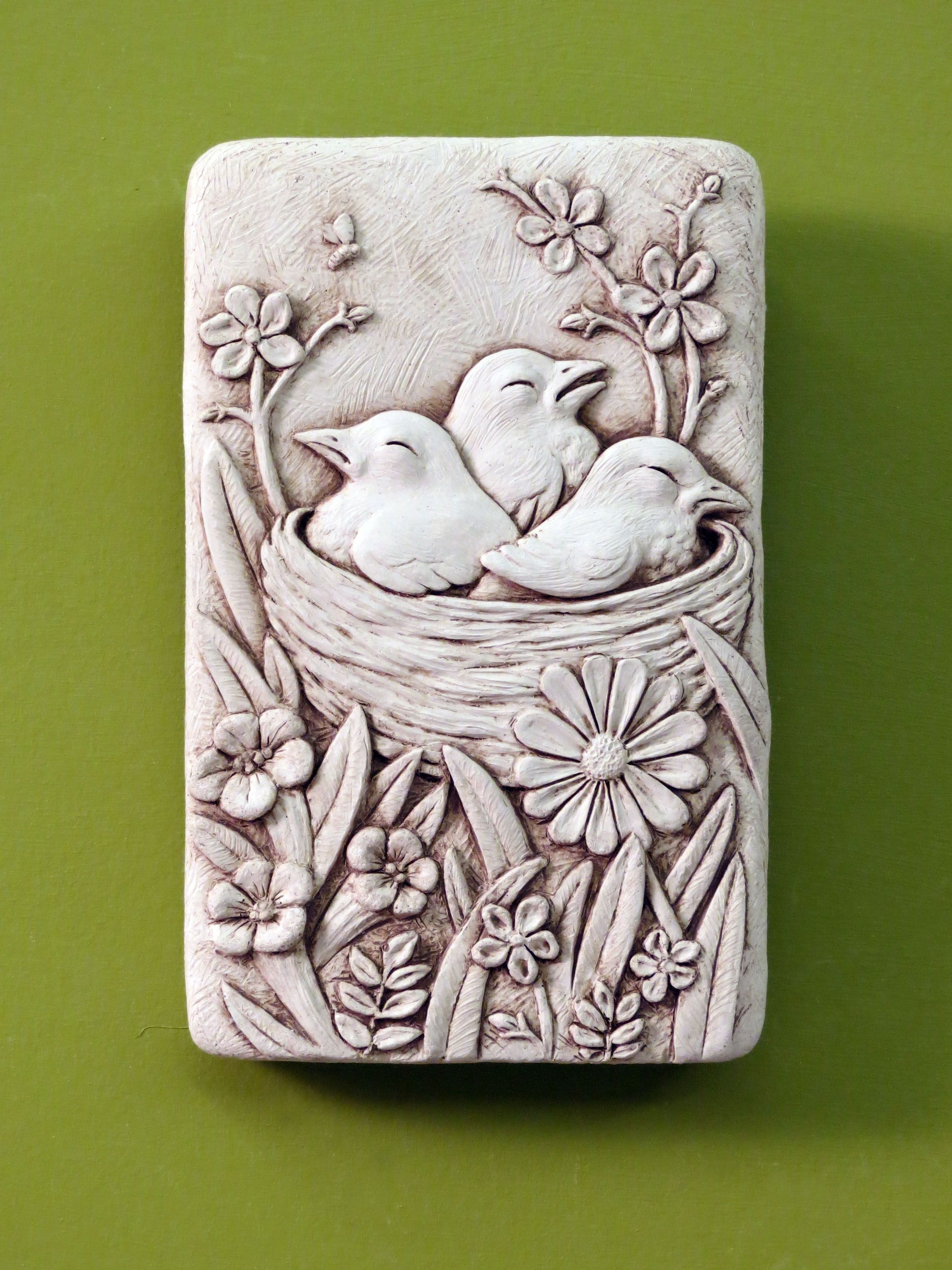 1279 cozy nest carruth nest birds gift plaque for Plaque recouvrement mural