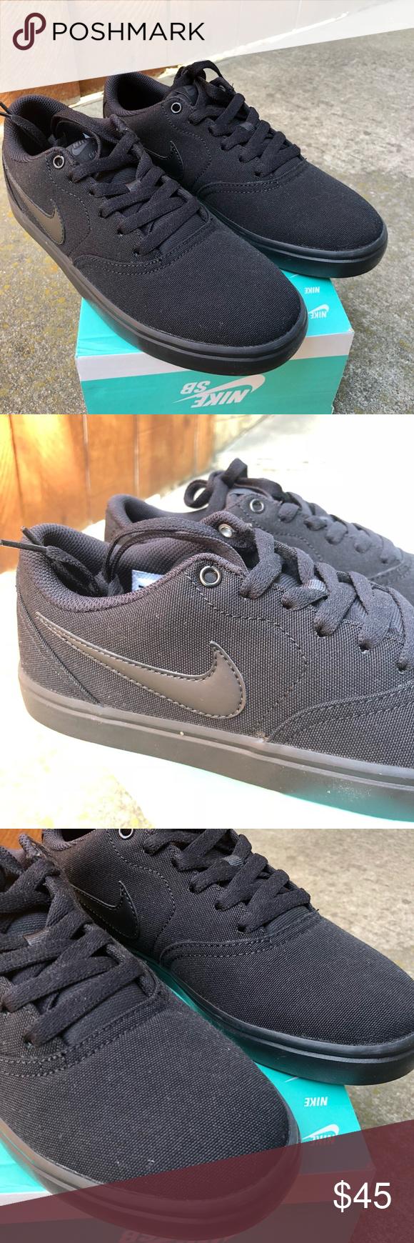 Nike Sb Check Solar Cnvs Wmns All Black Fashion Women Shoes Black Nikes