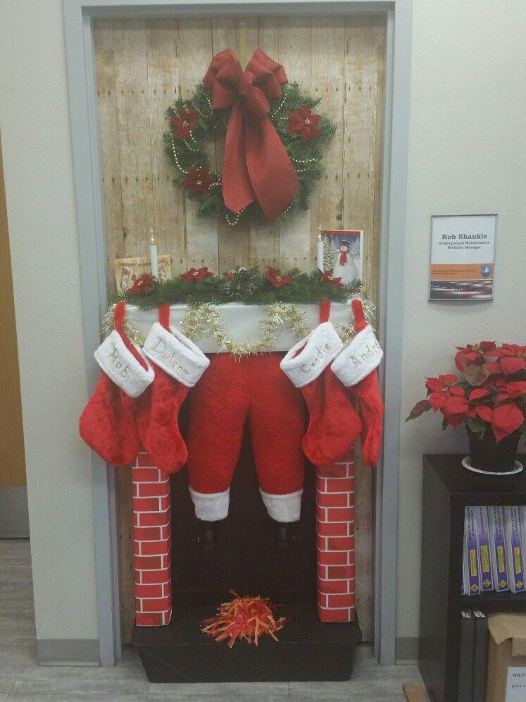 Christmas Santa Stuck In The Chimney Door Decoratio Christmas