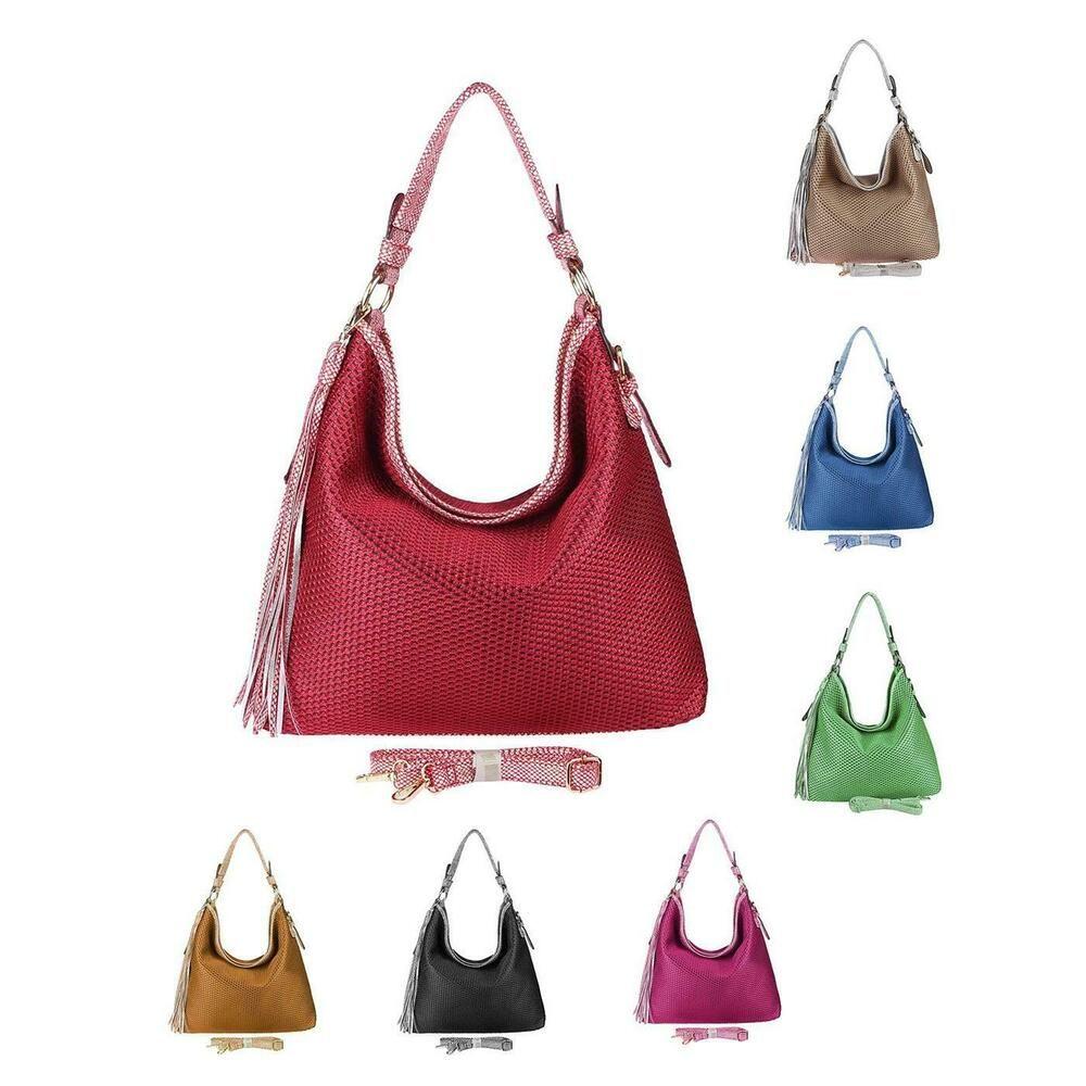 Photo of [Werbung] DAMEN HAND-TASCHE FLECHT Leder OPTIK HOBO-BAG Metallic XXL Shopper Umh…