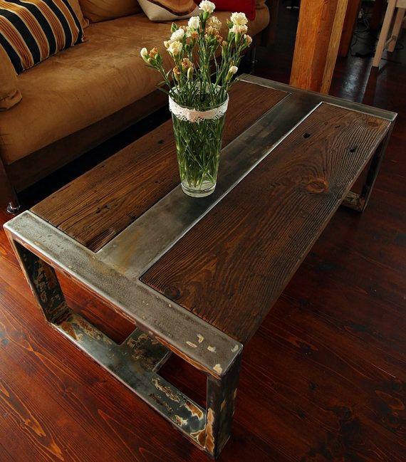 Bois r cup r la main acier table basse vintage rustique table de caf - Table en bois vintage ...