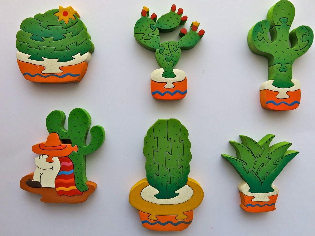 Hilos en nogada, cactus, nopalito, viejito, San Pedro, agave, suegra, madera, iman, handmade, Puebla