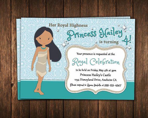 Princess pocahontas birthday invitation print yourself party princess pocahontas birthday invitation print yourself filmwisefo Choice Image