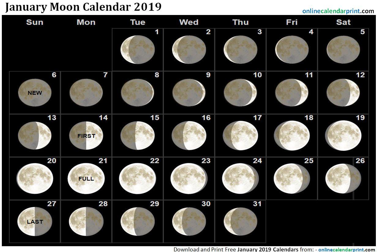January Calendar Moon Phases