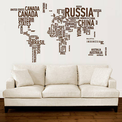 Carte du monde typographie map wall art wall sticker and walls carte du monde typographie big wall artworld map gumiabroncs Images