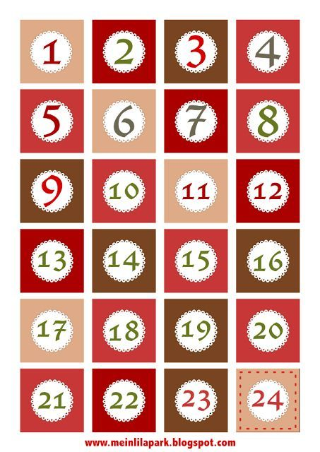 Calendrier De Lavent Digital.Free Printable Christmas Advent Calendar Numbers And Borders