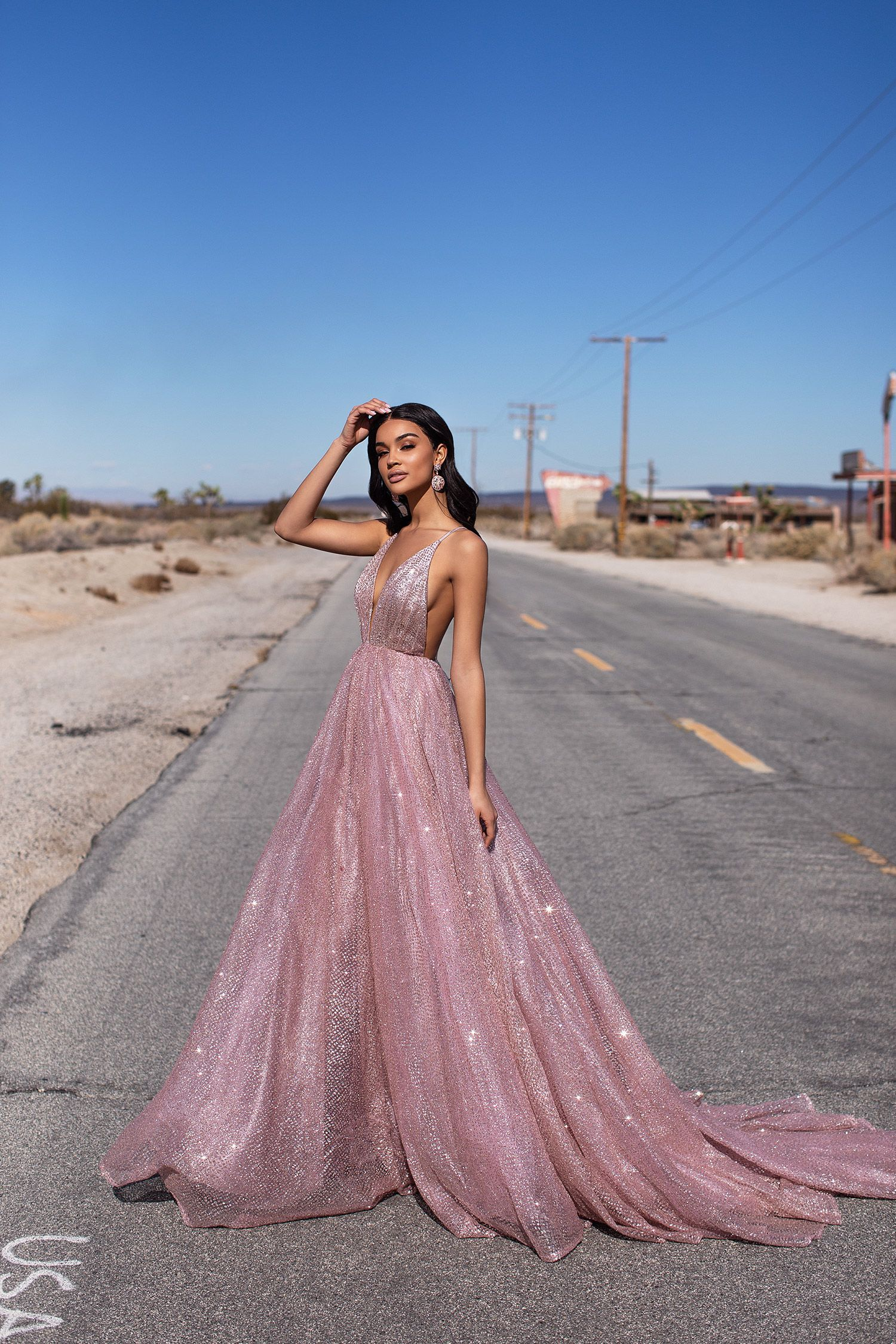 A&N Luxe Electra Glitter Gown - Rose Gold #promdresses (With
