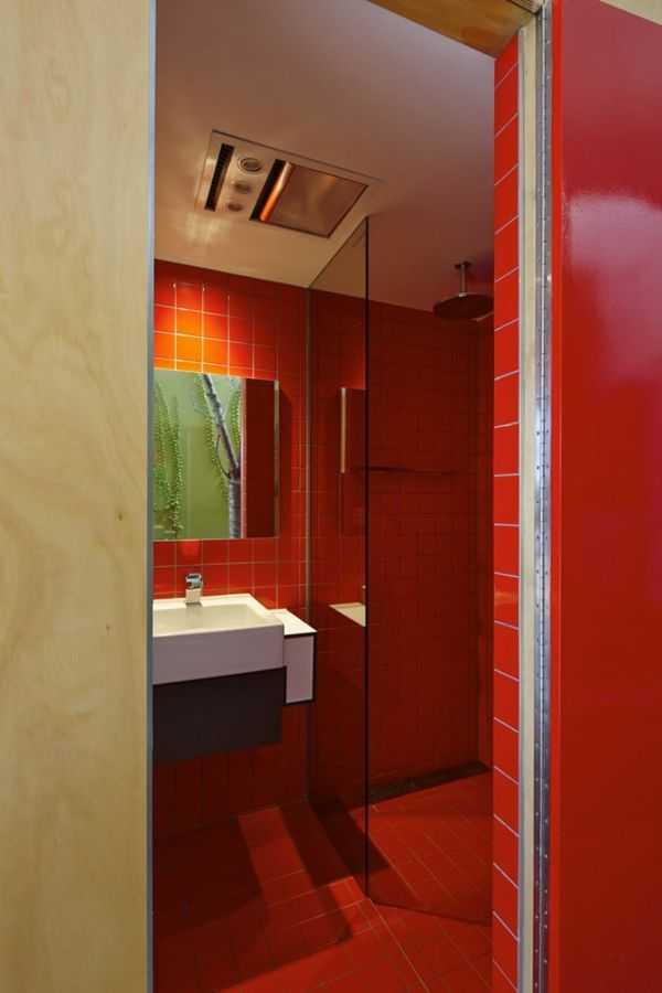 Modernes Japanisches Einfamilienhaus Badezimmer Rot Fliesen Waschbecken