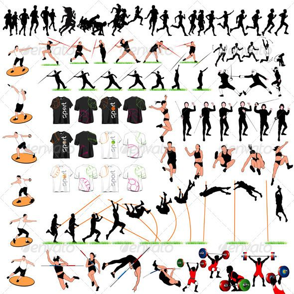 88 Sport Silhouettes and T-shirts Set #GraphicRiver 88 sport silhouettes and t-shirts set. Running, long jump, pole vault, fencing, discus throwing, javelin and many other sports. Each one is separated from background. Vector file (EPS 8.0), fully editable. Some images are colored and any customer may change this colors for concrete project. Supporting file is JPG in RGB color space (5000×5000 pixels). Created: 26October12 GraphicsFilesIncluded: JPGImage #VectorEPS Layered: No…