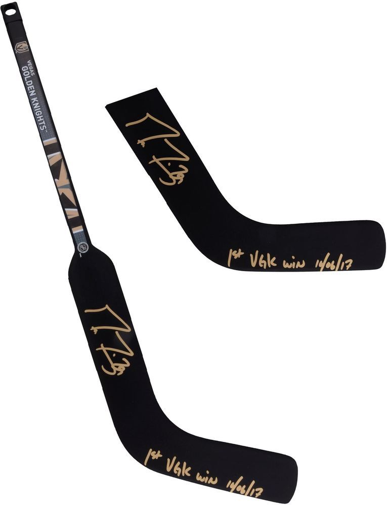 Marc Andre Fleury Vegas Golden Knights Signed Mini Stick 1st Vgk Win Insc Golden Knights Vegas Golden Knights Marc Andre