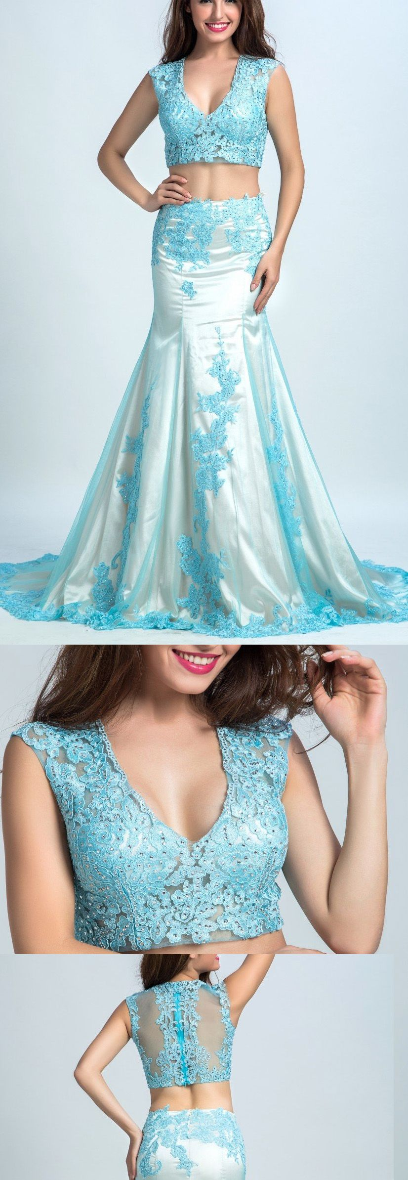 Discount outstanding light blue two piece prom evening dress with