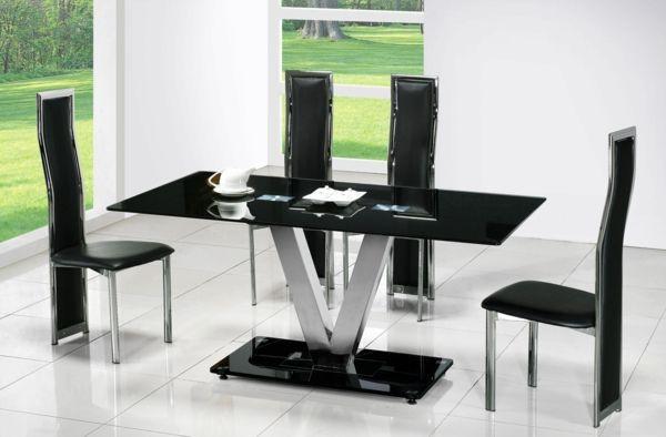 esszimmer möbel glasplatte schwarz glastische schwarz | esszimmer, Esstisch ideennn
