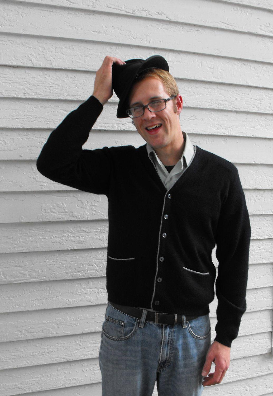Vintage 60s James Bond Mens Black Cardigan Sweater My