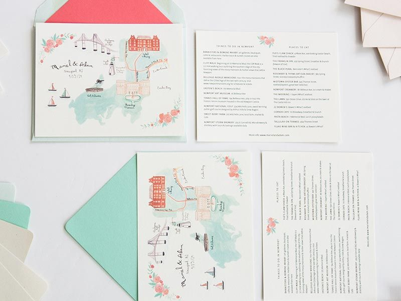 Pink Teal And Ivory Newport Rhode Island Map Wedding Program For Mariel Adam Jolly Edition Stationery Illustrated By Emma Block