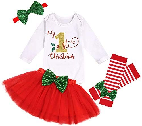 Best Seller Christmas Baby Outfit My First Christmas Baby Girl Romper Top  Tutu Skirt Leg Warmers  Headband 4PC Clothes Set online - Fortrendytoprated #babygirlheadbands