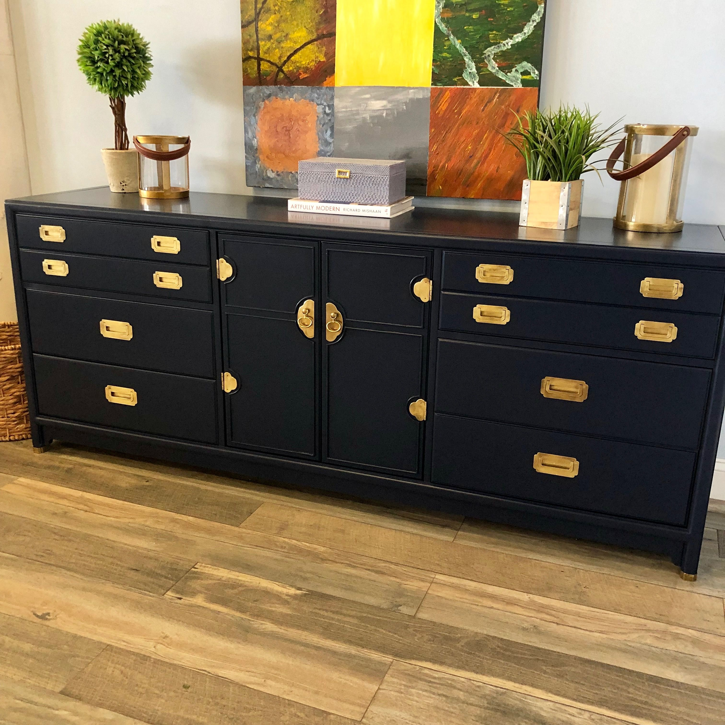 Navy Painted Campaign Dresser Www Vintagerefined Com Campaign