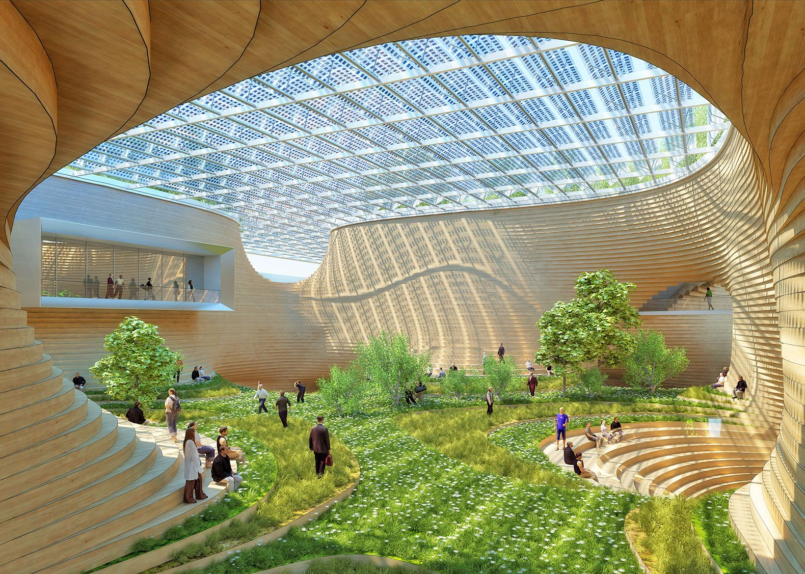 Wooden orchids reimagines the shopping mall as a living for Sustainable homes design
