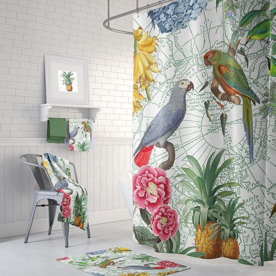 tropical parrot shower curtain set birds flowers fruit master bath rh pinterest com