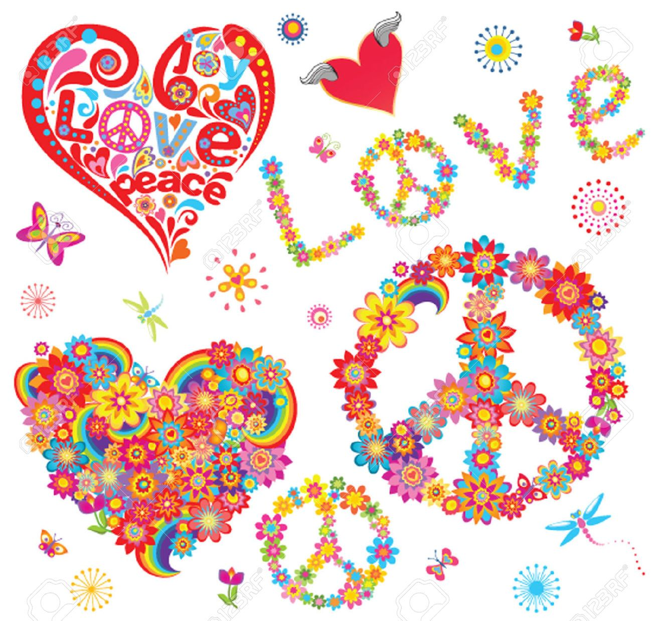 26077680 set of peace flower symbol and floral hearts stock vector 26077680 set of peace flower symbol and floral biocorpaavc