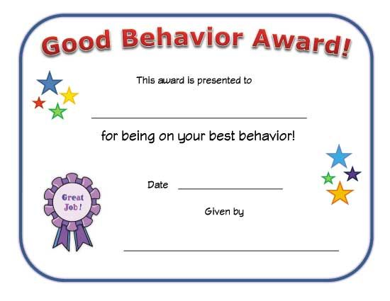 Good Behavior Award Certificate  Babysitting