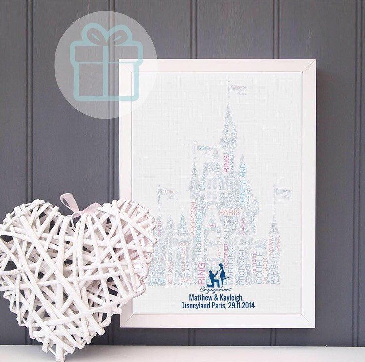 Engagement gift disney castle - word art print - wedding gift ...