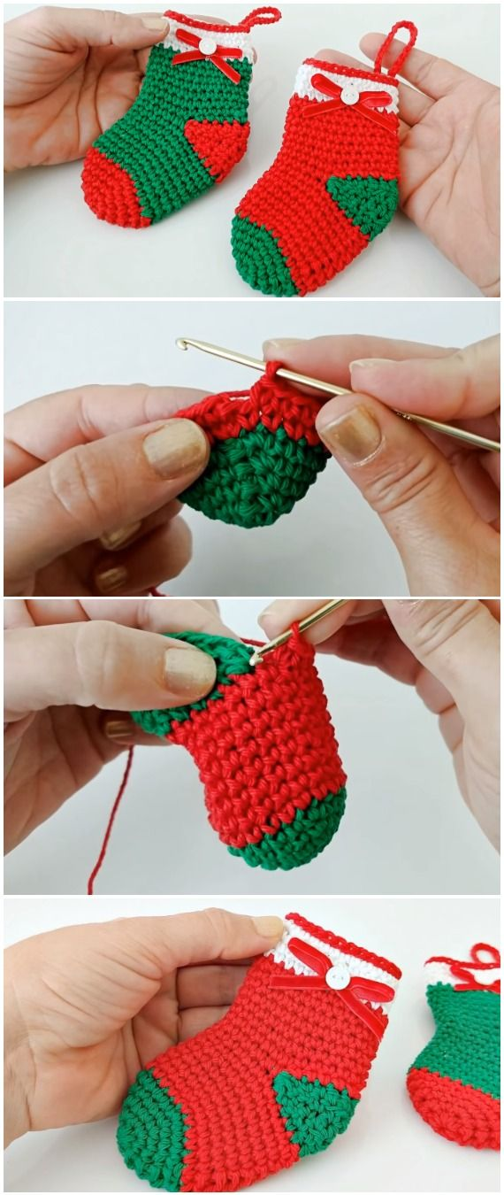 Learn To Crochet Christmas Socks #tejidos
