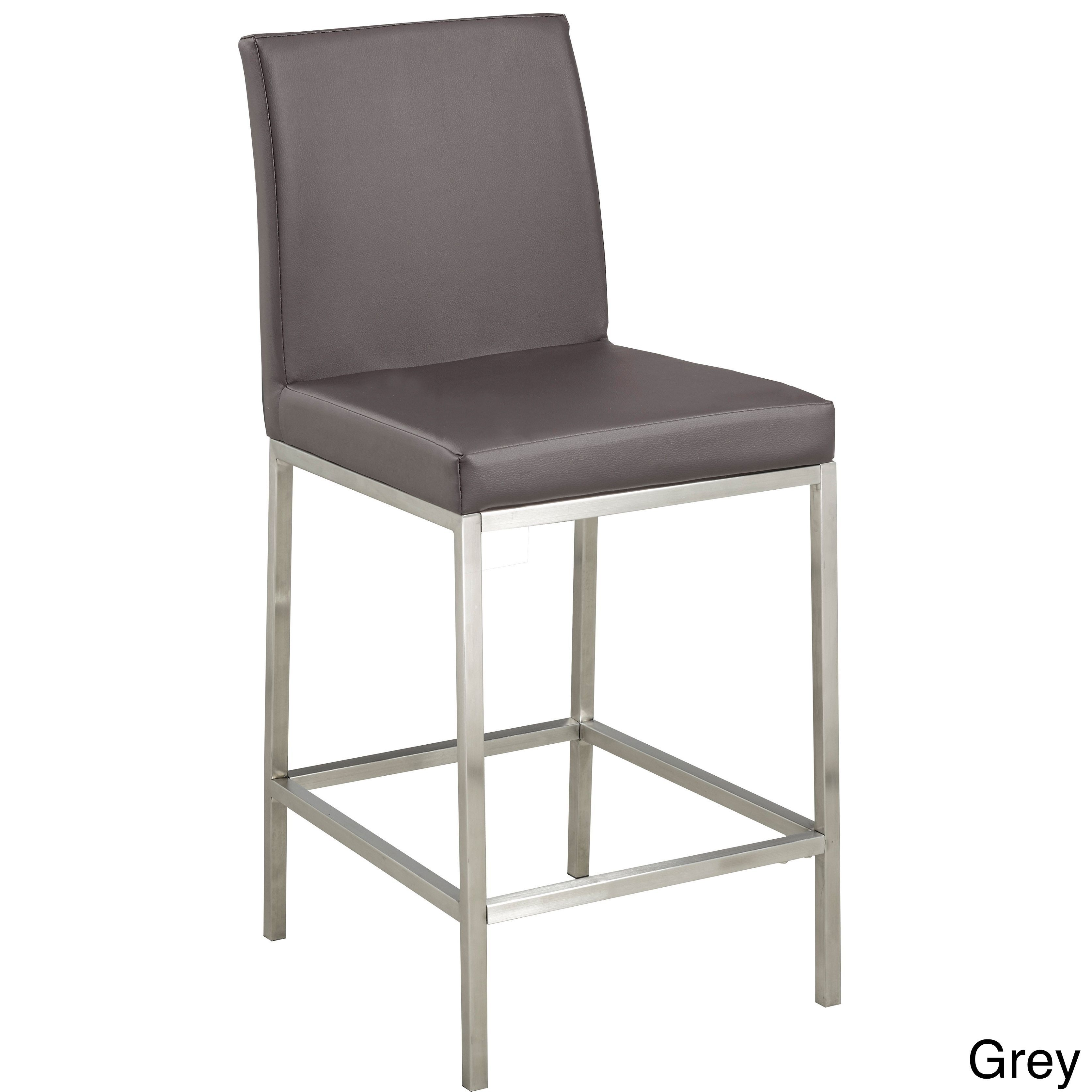 Home Gear Hail Faux Leather/Chrome Counter Stool