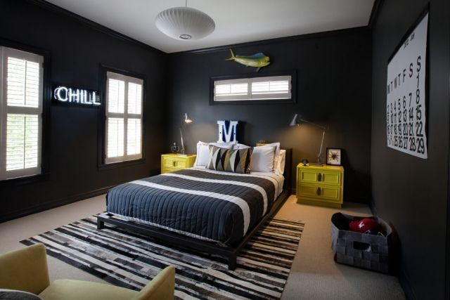 jugendzimmer gestalten modern schwarze wnde gelbe akzente - Moderne Jugendzimmer