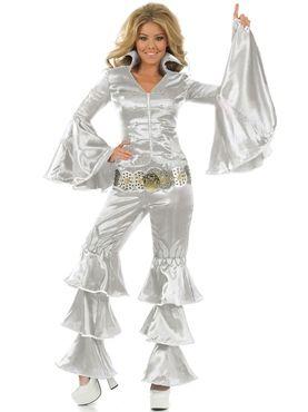 Silver Dancing Queen Costume Abba Fancy Dress Uk Fancy Dress