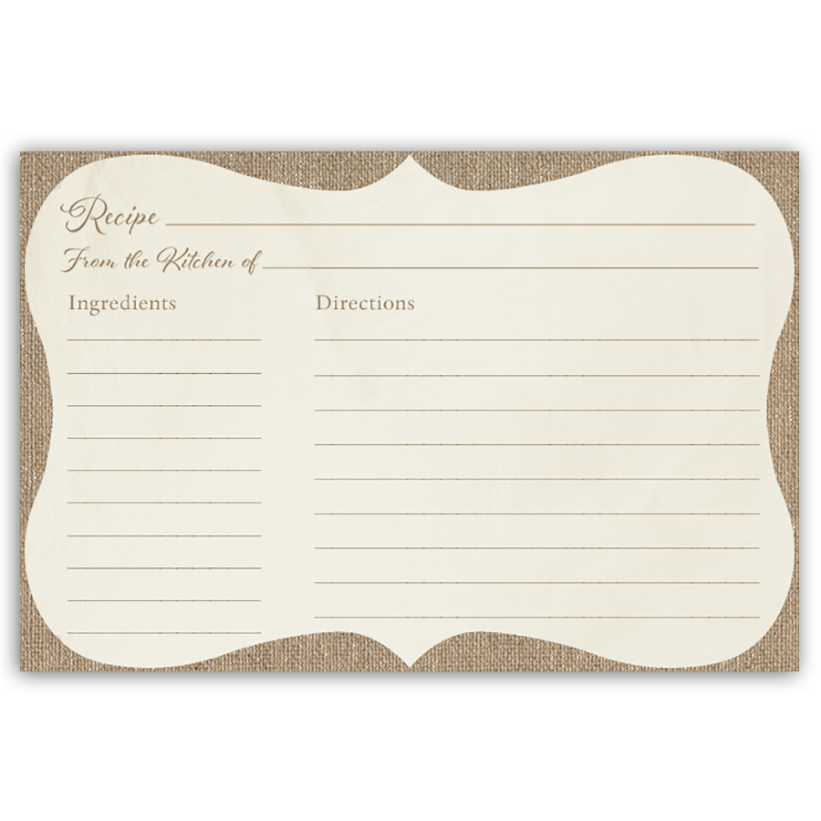 Have Guests Share Recipes At Your Bridal Shower With This Beautifully Rustic Burlap Recipe Card