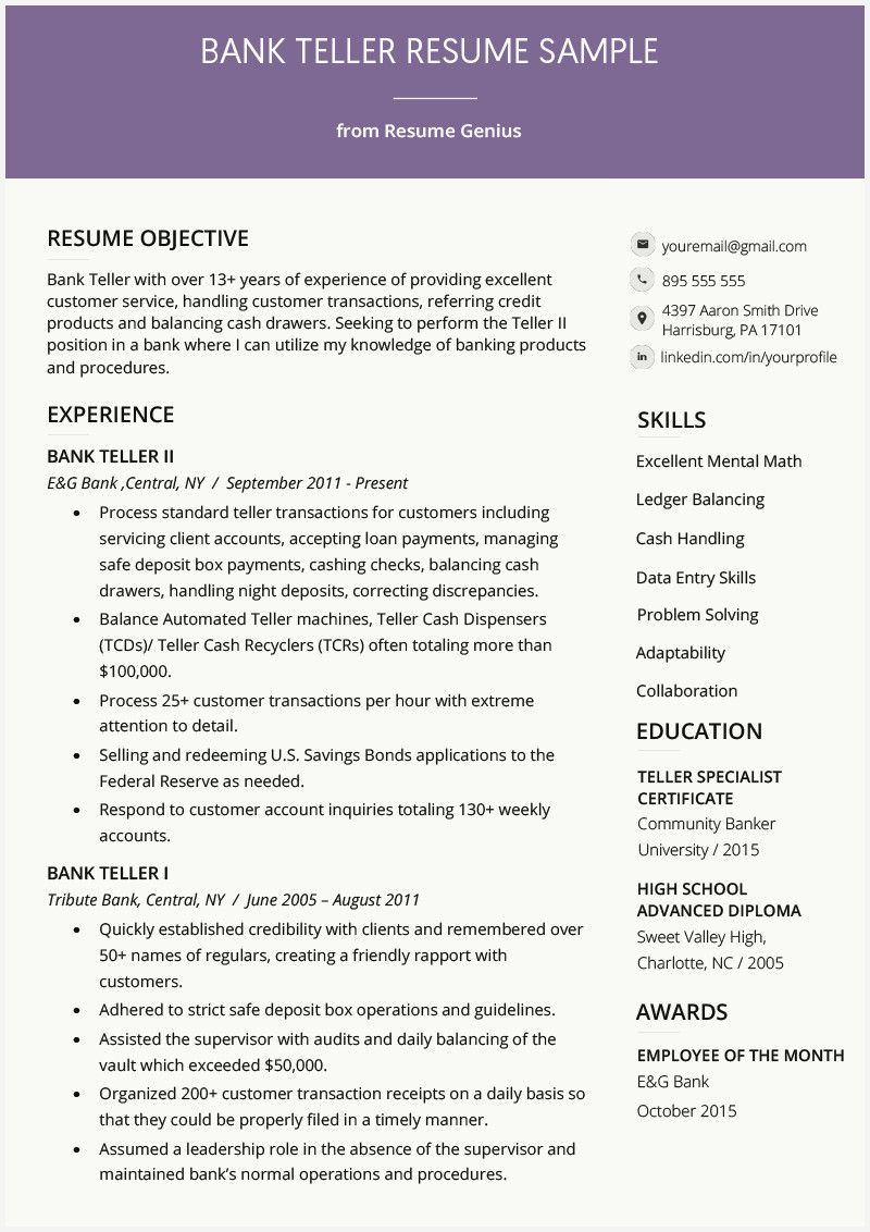 55 Example Bank Teller Resume Samples Image Check more at