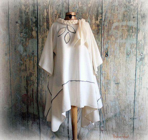 Off White Fleece Art Coat Flowing Draped by BrokenGhostClothing