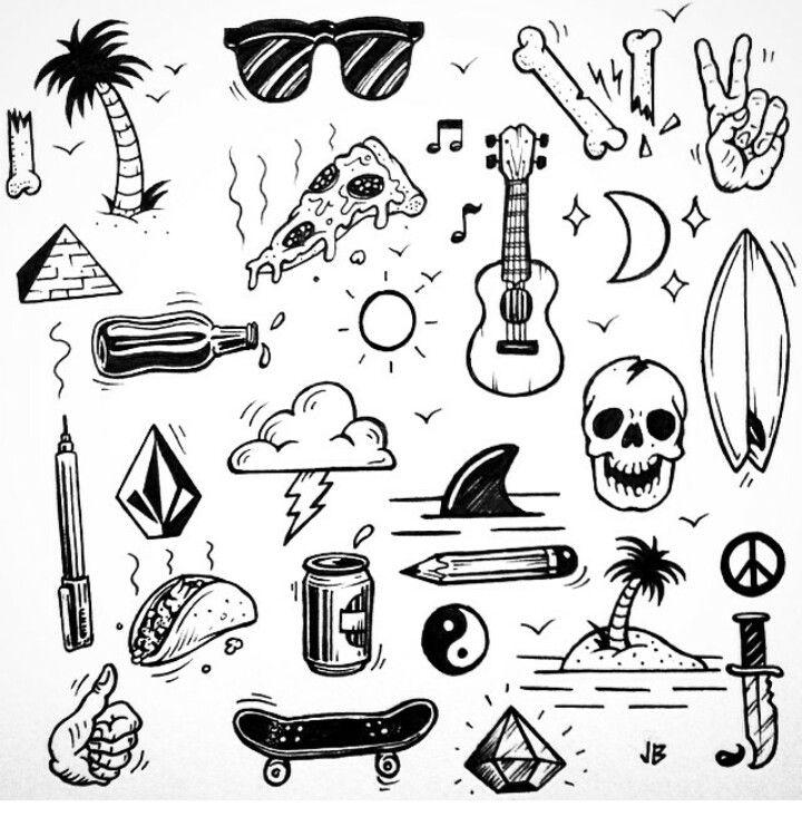Картинки черно белые для распечатки прикольные для тату